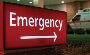 an emergency sign near a hospital
