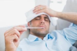a man checking his temperature